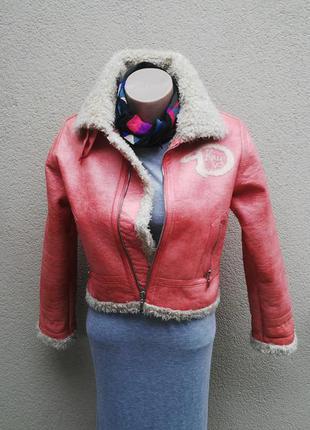 Красивая дубленка на меху,куртка,косуха(кож.зам) dkny,