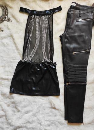Черная кожаная латекс секси пеньюар платье с цепочкой сетка цепями открытая спина чокер