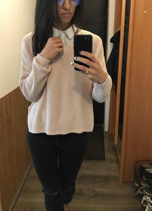 Нежно розовый свитер h&m, размера s-xs