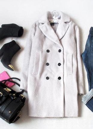Уютное двубортное пальто-бойфренд от atmosphere серого цвета, размер s/m, см. замеры