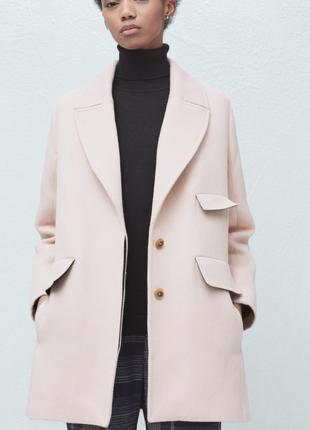 Котоновое пальто пастельного цвета mango