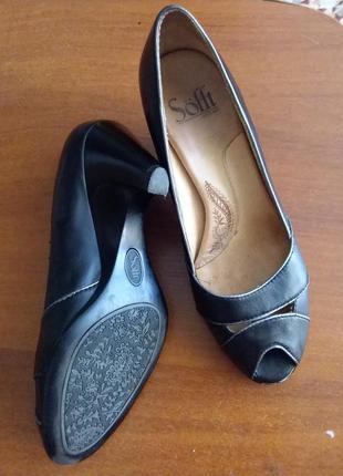 Кожаные туфли soffi с открытым мысом и ортопедической стелькой