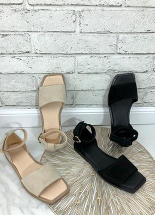 Хит 2021!женские босоножки квадратный носок на низком ходу, натуральная кожа/замша