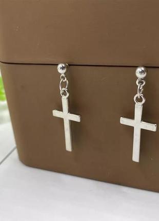 Серьги серёжки крестики под серебро