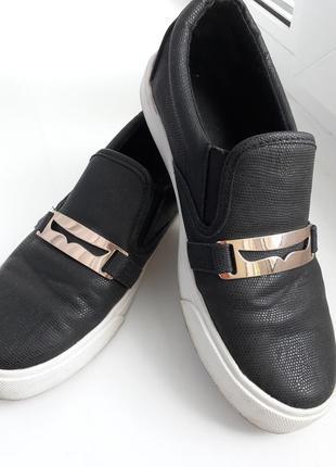 Чёрные слипоны кожаные