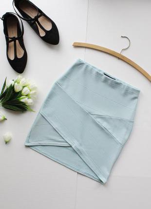Нежная асимметричная бандажная юбка на резинке