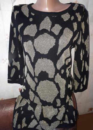 Туника платье теплое черное золотое вязаное topshop размер m-l