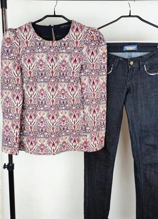 Красивая брендовая жаккардовая блуза лонгслив zara переливается турция