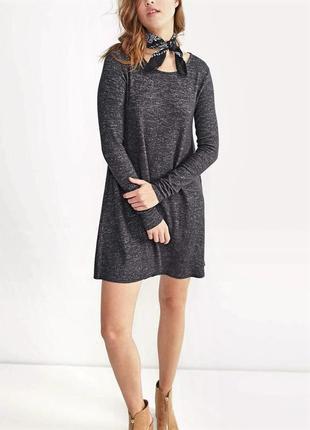 Тёмно-серое платье-трапеция от stradivarius. s. м. новое.