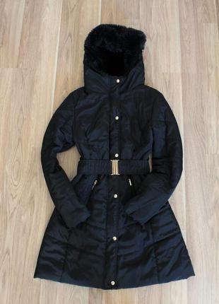 Курточка на синтепоне с меховым большим капюшоном