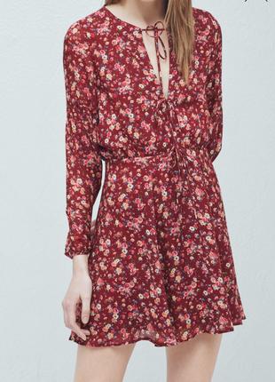 Цветочный принт платье mango вискоза