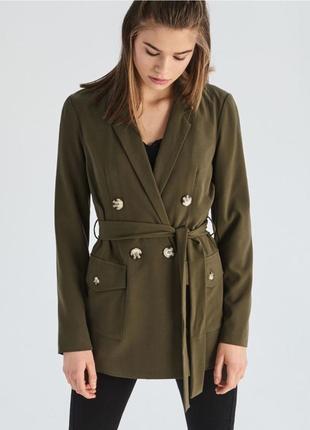 Длинный пиджак двубортный блейзер с поясом