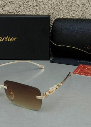 Cartier трендовые солнцезащитные очки унисекс узкие безоправные коричневые с градиентом