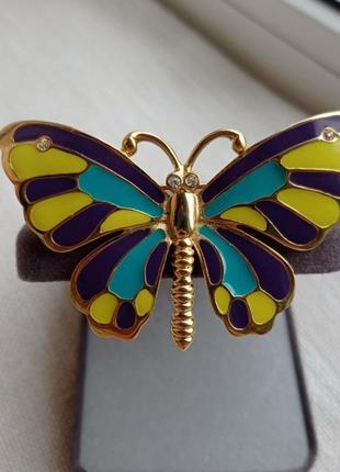 Винтажная эмалевая брошь бабочка craft