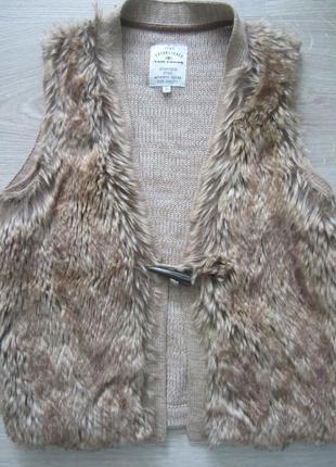 Шикарная жилетка с мехом от tom tailor, m/l