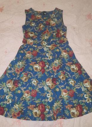 Платье синее принт крупные цветы цветастое2 фото