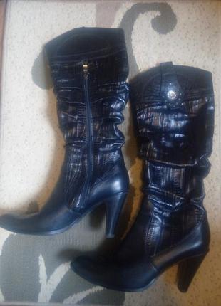 41р/27 красивые черные кожаные сапоги на каблуке,кэжуал,большой размер.