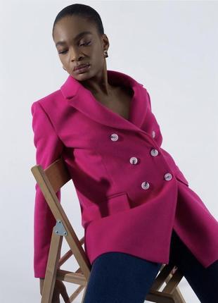 Яркий малиновый пиджак, жакет в стиле zara 🏷