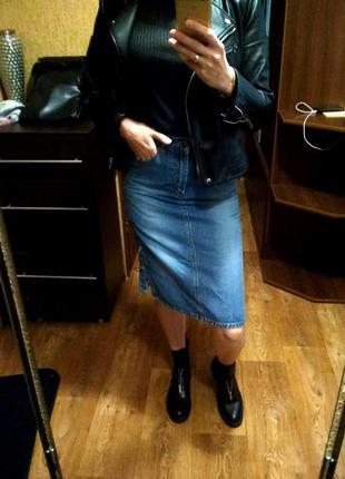 Джинсовая юбка/миди/со шнуровкой