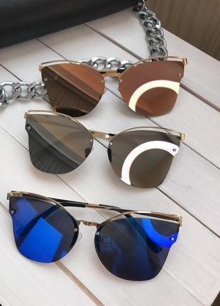 Зеркальные солнцезащитные очки женские цветные