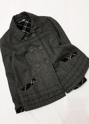 Promod шерстяное полупальто пальто куртка шерсть жакет пиджак