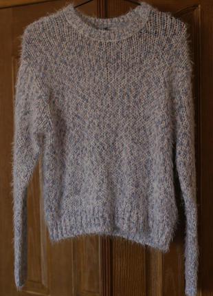 Голубой пушистый свитер травка h&m