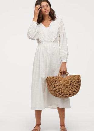 Скидка элегантное  вышитое платье h&m из штапельной ткани  50-52