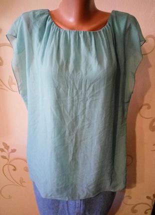 Шелковая мятная майка блузка топ безрукавка . шелк вискоза . большой размер