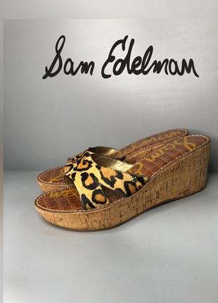 San edelman леопардовые шлёпанцы шлепки кожаные на платформе танкетке мюли сабо owens lang