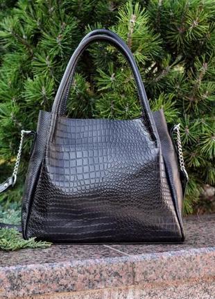 Кожаная изысканная черная сумка, цвета в ассортименте