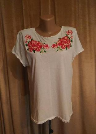 Белая футболка h&m с вышивкой розы размер l/ xl