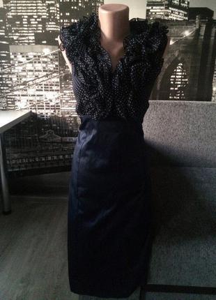 Офисное платье в горошек
