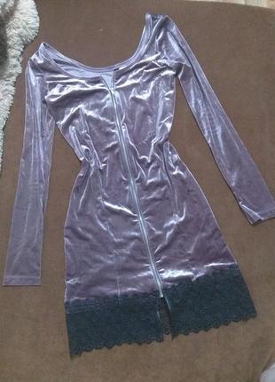 Велюровое бархатное платье с кружевом, платье с молнией