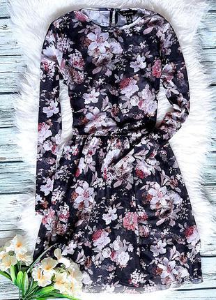 Платье туника черная цветочный принт в сетку длинный рукав размер s m atmosphere