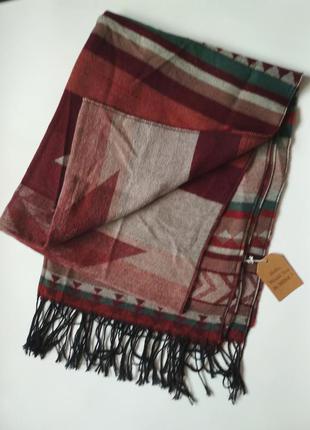 Шикарный большой тёплый шарф палантин, шерсть/акрил