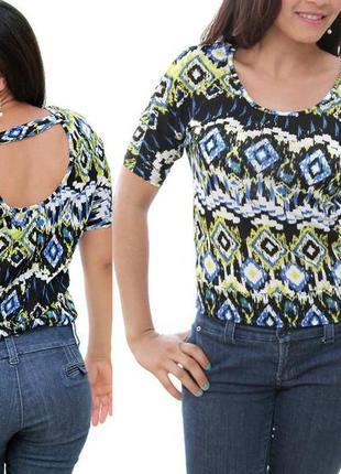 Брендовый топ футболка с вырезом на спинке, низ на усиленной планке xs,s9 фото