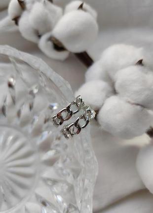 Серьги серёжки кольца серебристые новые