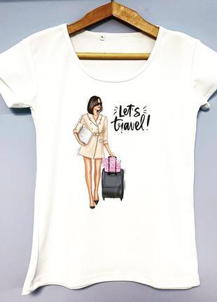 Женская футболка путешествие принт девушка чемодан travel