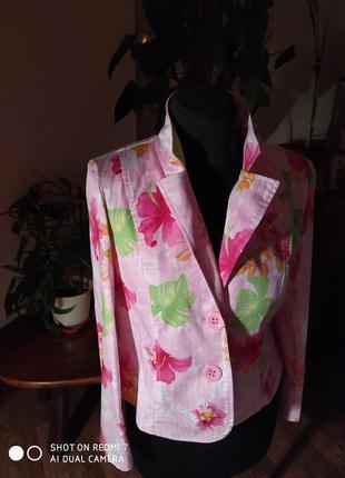 Весенне-летний, яркий пиджак из натурального хлопка2 фото