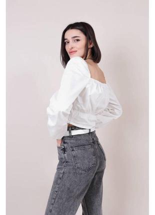 Хлопковая укороченная блуза-бюстье белая4 фото