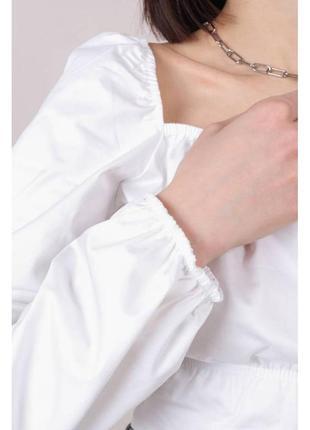Хлопковая укороченная блуза-бюстье белая3 фото