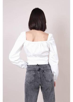Хлопковая укороченная блуза-бюстье белая5 фото