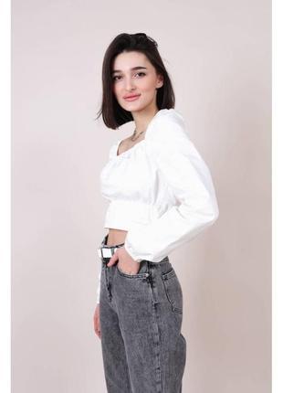 Хлопковая укороченная блуза-бюстье белая2 фото