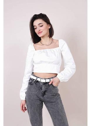 Хлопковая укороченная блуза-бюстье белая