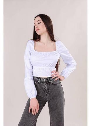 Хлопковая укороченная блуза-бюстье св.серая