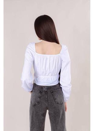 Хлопковая укороченная блуза-бюстье св.серая3 фото