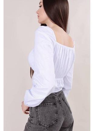 Хлопковая укороченная блуза-бюстье св.серая2 фото