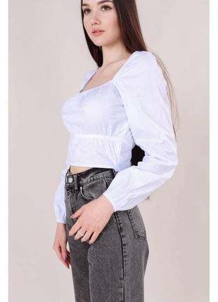 Хлопковая укороченная блуза-бюстье св.серая4 фото