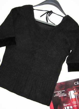 Пуловер с велюровой отделкой