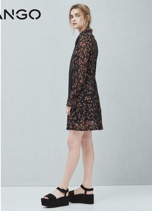 Дизайнерское воздушное платье бохо/кафтан принт цветы с оф. сайта mango casual.